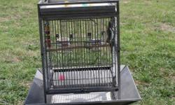 Well taken care of 2 cockatiels and cage. Includes 2 natural shaved wood perches Activity play pan and Bar with multiple attachment points lets you hang toys and enrichment tools Constructed with nontoxic powder coating and zinc-free finish for safety