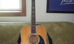 """ALVAREZ ACOUSTICAL GUITAR 71917 MUST SELL BY AUGUST 30TH, ALL SERIOUS OFFERS WILL BE CONSIDERED. PREVIOUSLY OWN BY THE LATE """"ELI"""" A LOCAL SONG WRITER DY 90 - dreadnought style, solid spruce top, round soundhole, abalone bound body and"""