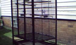the only problem with this cage is the leg for the left front wheel is comes off sometimes, my husband is going to fix that problem. you need a pick up to get this, the cage is 4' tall x 3' wide 2' deep, I have 2 big ceramic bowls for food and water, it