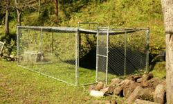 I have a 12X14 dog kennel 6ft high with a walk in gate and a 12x16 Heavy Duty Tarp to cover it.$300.00 for all.