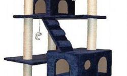 This is a Great Cat Tree by Go Pet Club I bought for my cats but they are to old, fat and lazy to use it so I have to pass it on to someone with more energetic cats! It's 3 different levels with ladders to each and little cubbies to hide in and dangling