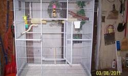 my cage now is 4' by 4', but very old, I'm hoping for, at least, a 3'by 3' in good condition- no rust. I also need it brought to me my birds deserve another good home, I have 4 green cheek conures. a big flight cage, any color.-- I don't care. mine has
