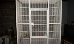 I have a large bird cage for sale. The cage itself is 36 inches tall, 30.5 inches across and 18 inches wide. The cage and the stand together are 64 inches tall. So with the stand and cage, it's about 5 foot 4 inches. A couple of bolts need replaced and I