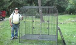 I am selling a large double wrought Iron parrot cage. It measures 32in. wide, 64in long and 64in. tall. My son stored it in my barn and no longer wants it.