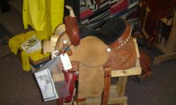 "Like New Reinsman 4250 Barrel racing saddle. Padded 14"" seat.  Rawhide horn. Great saddle.   Come see it @ Riverside Boot & Saddle 742 W Hwy 39 Blackfoot, ID 83221 Or call .. Email barry.frei@gmail.com"