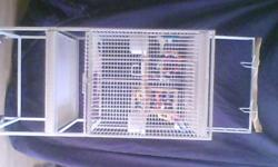"White bird cage 55"" tall includes play area. 18""X18""X20"". cage only $50.00 With two parakeets $65.00"