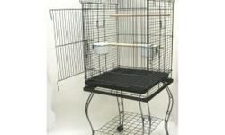 """58- 60"""" high on legs with wheels, black and brought to me in beaver falls. I included 2 styles, the taller actual cage space- the better. might go to $125.00, if its in really good condition and has all dishes/perches."""